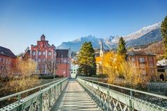 Innsbruck cityscape, Austria. Bridge across the Inn, Innsbruck, Austria stock photography