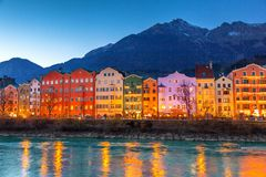 Innsbruck cityscape, Austria. Colorful houses in Innsbruck, Austria stock photo