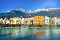 Innsbruck cityscape, Austria. Colorful houses in Innsbruck, Austria royalty free stock photos