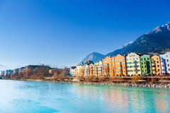 Innsbruck cityscape, Austria. Colorful houses in Innsbruck, Austria royalty free stock photo