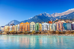 Innsbruck cityscape, Austria. Colorful houses in Innsbruck, Austria stock photos