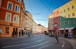 Innsbruck cityscape, Austria. Colorful houses in Innsbruck, Austria stock images