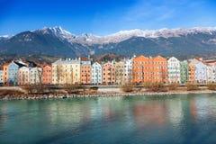 Innsbruck cityscape, Austria. Colorful houses in Innsbruck, Austria royalty free stock photography