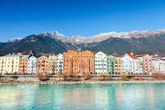 Innsbruck cityscape, Austria. Colorful houses in Innsbruck, Austria royalty free stock image