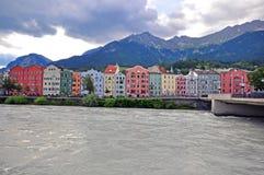 Innsbruck cityscape, Austria. INNSBRUCK, AUSTRIA - JUNE 15: Multicolor houses on the promenade of Innsbruck city on June 15, 2014. Innsbruck is a capital of royalty free stock photos