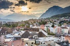 Innsbruck cityscape. INNSBRUCK, AUSTRIA - SEPTEMBER 22: View over the city of Innsbruck, Austria on September 22, 2015. Innsbruck is the capital of Tyrol. Foto royalty free stock photo