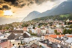 Innsbruck cityscape. INNSBRUCK, AUSTRIA - SEPTEMBER 22: View over the city of Innsbruck, Austria on September 22, 2015. Innsbruck is the capital of Tyrol. Foto stock photography