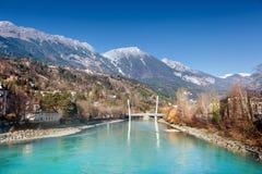 Innsbruck cityscape, Austria. View of river Inn, Innsbruck. Austria stock photos