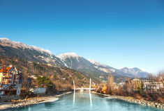 Innsbruck cityscape, Austria. View of river Inn, Innsbruck. Austria stock photo