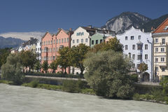 Innsbruck-Flussufer Stockfoto