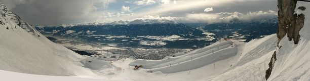 Innsbruck funpark panorama. The view over the funpark at Nordpark and the city of Innsbruck below Stock Photography