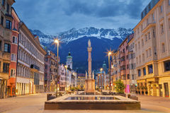 Innsbruck. Image of Innsbruck, Austria during twilight with European Alps in the background Stock Photos