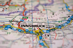 Innsbruck on map. Close up shot of Innsbruck Germany on a map Stock Image