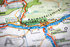 Innsbruck. Map Photography: Innsbruck City on a Road Map Royalty Free Stock Photo
