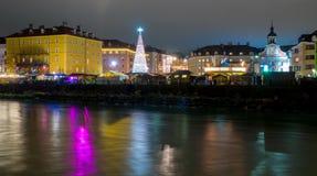 Innsbruck Marktplatz Christmas market, night view