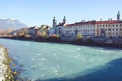 Holiday innsbruck  picture,Innsbruck,mountain,snow,travel,tirol,austria,europe. Daytime view of Innsbruck with snowy mountains. Holiday Image Stock Photo