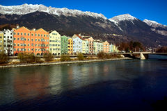 Holiday innsbruck picture,Innsbruck,mountain,snow,travel,tirol,austria,europe. Daytime view of Innsbruck with snowy mountains.holiday image Royalty Free Stock Photography
