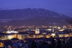 Innsbruck by night. View of Innsbruck in a cold winternight Stock Photo