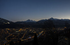 Innsbruck by night. View of Innsbruck by night from the mountains nearby Royalty Free Stock Photo