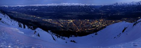 Innsbruck Panorama. Innsbruck at night in winter seen from 2000 meters above Royalty Free Stock Photos