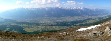 Innsbruck Panorama. View from Innsbrucks landmark Patscherkofel into the city, the inn-valley and the Karwendel Alps Stock Photos