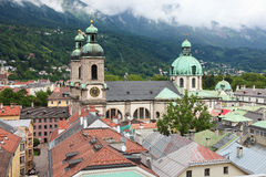 Innsbruck. Panoramic view on the Dom in the old center of Innsbruck, Austria Stock Image