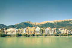 Innsbruck postcard with Tirol mountains on the background Stock Photos