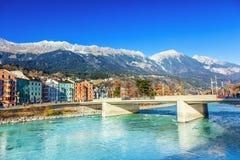 Innsbruck river. View of river Inn, Innsbruck. Austria royalty free stock image