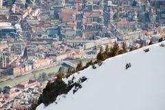 Innsbruck sah von oben an Stockfoto