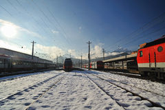 Innsbruck train station in winter time Royalty Free Stock Image