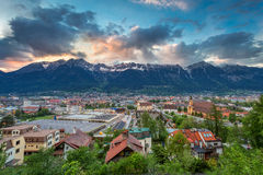 Innsbruck. View over Innsbruck by sunset. No recognizable people, cars, etc Stock Photos