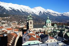 Innsburck City View with snow capped mountains Royalty Free Stock Photography