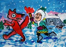 Innuit chasing a fox painted by child stock photography