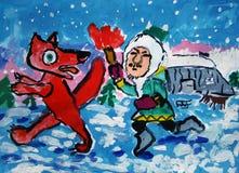 Innuit chassant un renard peint par l'enfant photographie stock