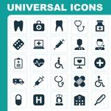 Inom arkiv kan du finna mappar i sådana format: ai eps, cdr, jpg Samling av sjukhus, läkare, knip och andra beståndsdelar Inklude Stock Illustrationer