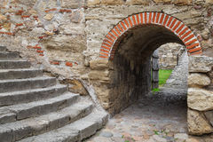 Inom av den Baba Vida fästningen Vidin, Bulgarien Arkivbilder