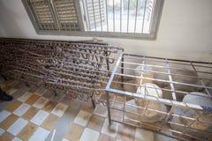 Inom av det Tuol Sleng Genoside museet Phnom Penh, Cambodja Arkivbild