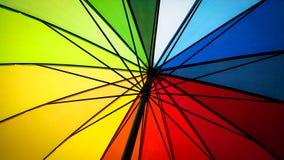 Inom av ett kulört paraply för regnbåge royaltyfria bilder