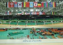 Inom av Rio Olympic Velodrome som lokaliseras i Barra Olympic Park i Rio de Janeiro Royaltyfri Fotografi