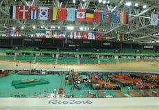 Inom av Rio Olympic Velodrome som lokaliseras i Barra Olympic Park i Rio de Janeiro Arkivbild