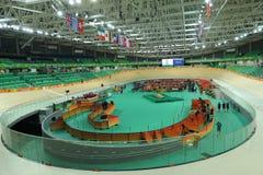 Inom av Rio Olympic Velodrome som lokaliseras i Barra Olympic Park i Rio de Janeiro Arkivfoton