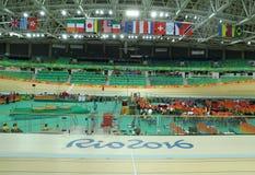 Inom av Rio Olympic Velodrome som lokaliseras i Barra Olympic Park i Rio de Janeiro Royaltyfri Bild