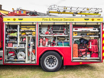 Inom brandmotorn brandlastbil Royaltyfri Foto