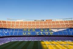 Inom Camp Nou hem- stadion av FCet Barcelona, störst stadion i Spanien och Europa fotografering för bildbyråer