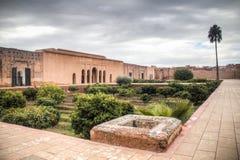 Inom den Bab Agnaou slotten i Marrakesh Marocko Arkivfoton