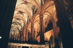 Inom den Barcelona domkyrkan Spanien Royaltyfria Bilder