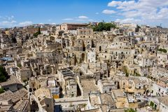 Inom den forntida staden av Matera Sassi di Matera, europé Ca arkivbilder