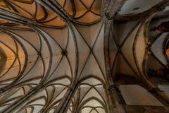 Inom den gotiska europeiska domkyrkan Arkivbilder