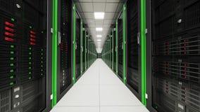 Inom den långa serverrumtunnelen Arkivfoto