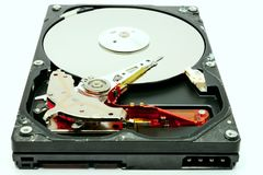 Inom den magnetiska harddisken öppna räkningsharddisken royaltyfri foto